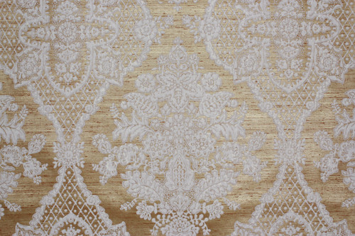 1970s Vintage Wallpaper White Large Flocked Damask