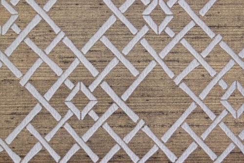 1970s Vintage Wallpaper White Lattice Flocked on Gold