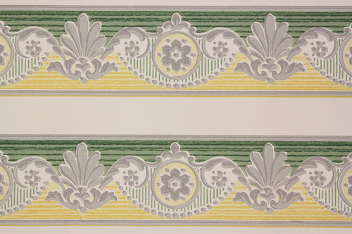 1950s Vintage Wallpaper Border Green and Yellow