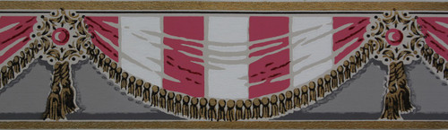 Trimz Vintage Wallpaper Border Pink and White Swags