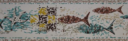 Trimz Vintage Wallpaper Border Mosaic Fish