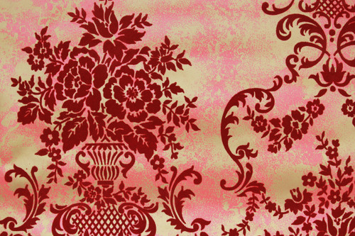 1970s Vintage Wallpaper Red Flocked Contact Peel n Stick
