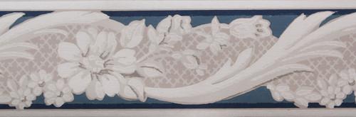 Trimz Vintage Wallpaper Border Rococo Blue