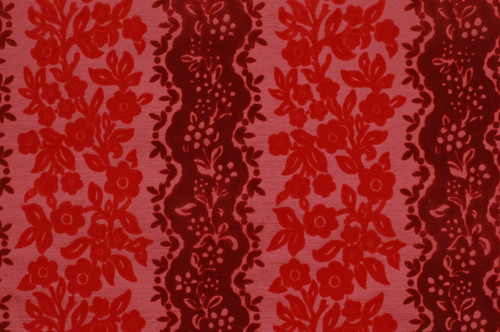 1970s Vintage Wallpaper Red and Pink Flocked
