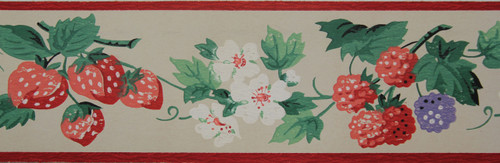 Dex Vintage Wallpaper Border Berry Blossom