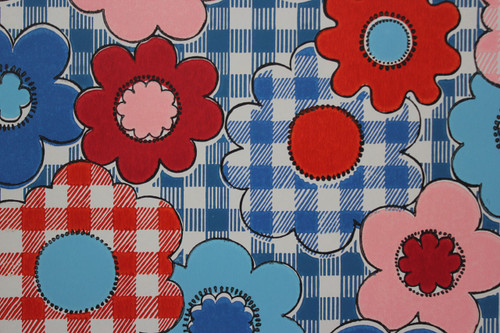 1970s Vintage Wallpaper Red Blue Flowers on Gingham