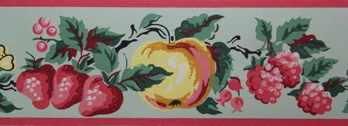 Imperial Vintage Wallpaper Border Fruit Green