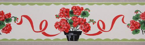 Trimz Vintage Wallpaper Border Potted Geranium