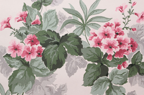 1950s Vintage Wallpaper Pink Flowers on White