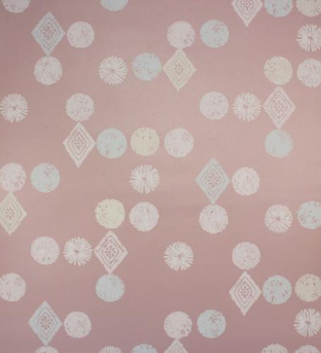 1950s Vintage Wallpaper Retro Starbursts Geometric on Dark Pink
