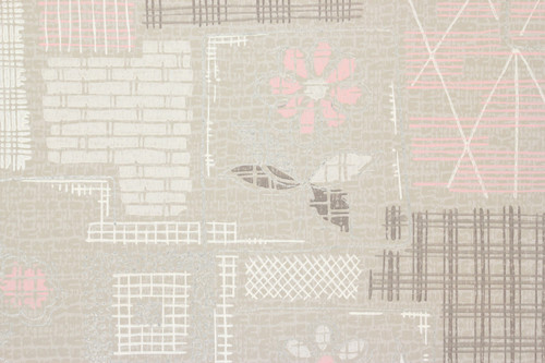 1950s Vintage Wallpaper Pink and White Floral Patchwork