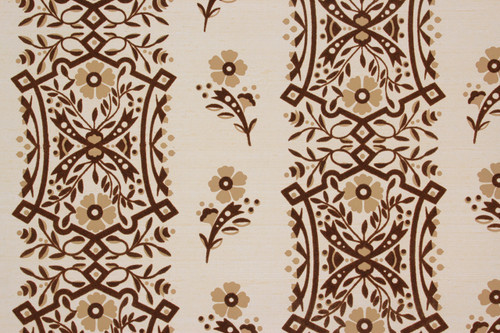 1980s Vintage Wallpaper Brown Flocked