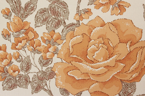 1970s Vintage Wallpaper Orange Roses