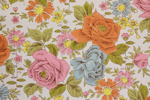 1970s Vintage Wallpaper Orange and Blue Roses