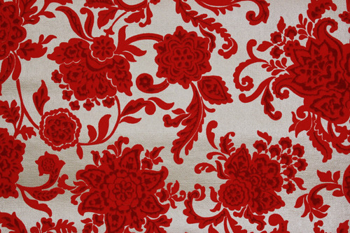 1970s Vintage Wallpaper Red Flocked Flowers