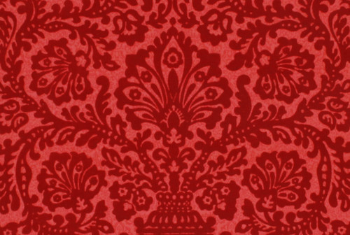 1970s Vintage Wallpaper Red Flocked Damask