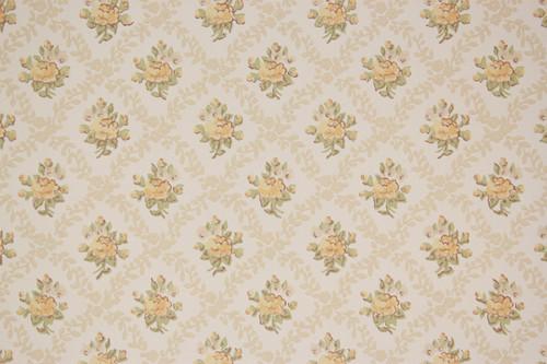 1970s Vintage Wallpaper Yellow Rose Geometric
