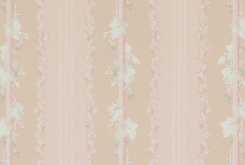 1950s Vintage Wallpaper White Leaves on Pink Stripe