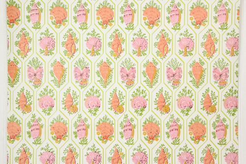 1970s Vintage Wallpaper Pink Orange Sea Shells