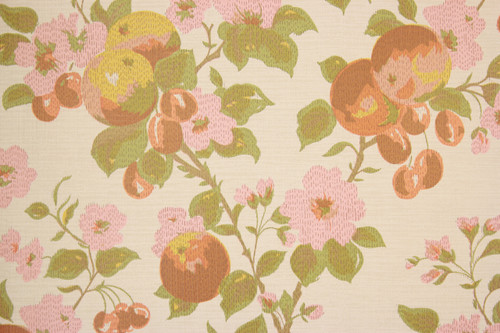 1970s Vintage Wallpaper Cherries and Pink Flowers II