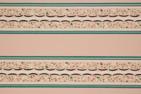 1940's Vintage Wallpaper Border Turquoise and Pink