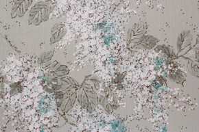 1950's Vintage Wallpaper Aqua and White Floral on Green