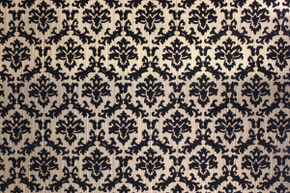 Black and Gold Flocked Small Damask Design Vintage Wallpaper
