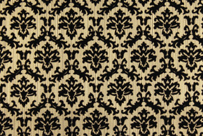 1970's Vintage Wallpaper Black and Gold Flocked Small Damask Design