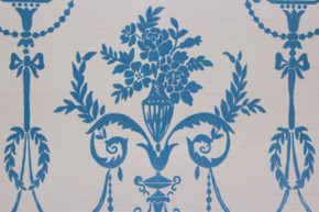 1970's Vintage Wallpaper Blue Flocked Victorian Design on White