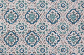 1970's Vintage Wallpaper Blue Geometric on White
