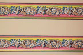 1940's Vintage Wallpaper Border Blue Flowers on Pink and Yellow