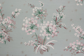1940's Vintage Wallpaper Bouquets of Pink and White Flowers