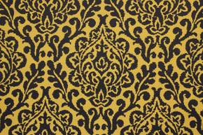 Damask Design Black on Yellow-Gold Vintage Wallpaper