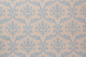 1960's Vintage Wallpaper Damask Design Blue on White