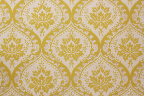 1960's Vintage Wallpaper Damask Design Yellow-Green