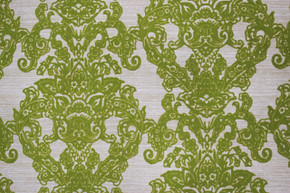 1970's Vintage Wallpaper Flocked Green Damask Design