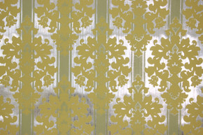 1970's Vintage Wallpaper Yellow Flocked Design on Foil