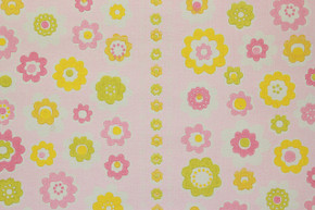 1970's Vintage Wallpaper Retro Pink and Yellow Flowers