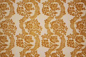 1970's Vintage Wallpaper Gold Flocked Damask