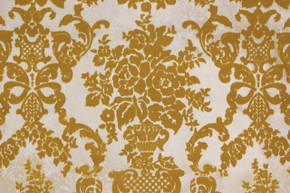 1970's Vintage Wallpaper Gold Flocked Damask Design