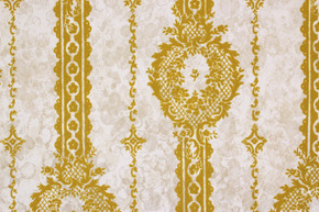 1970's Vintage Wallpaper Gold Green Flocked Design on Marble