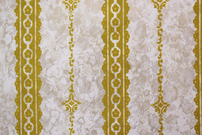 1970's Vintage Wallpaper Gold Green Flocked on Marble