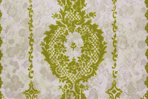 1970's Vintage Wallpaper Green Flocked Design on Marble