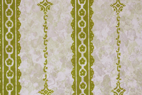 1970's Vintage Wallpaper Green Flocked Stripe on Marble