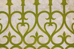 1970's Vintage Wallpaper Green Flocked Grillwork
