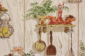 1970's Vintage Wallpaper Orange Kitchen Kitsch