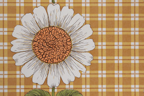 1970's Vintage Wallpaper Sunflowers on Gold Brown Plaid