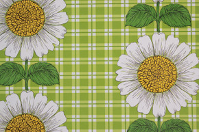 1970's Vintage Wallpaper Sunflowers on Green Plaid Vinyl
