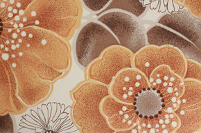 1970's Vintage Wallpaper Large Orange Flowers Vinyl