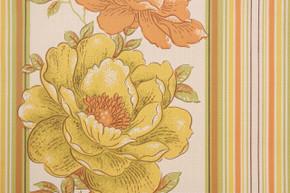 1970's Vintage Wallpaper Yellow and Orange Flower Stripe